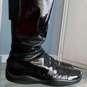 Prada Sport Mid Calf Black Patent Leather Boots 37